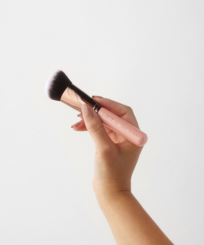 LUXIE 534 Angled Top Buffer Brush - Rose Gold - luxiebeauty
