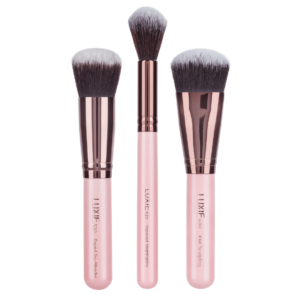 LUXIE 3 Piece Sculpted Face Makeup Brush Set in Rose Gold