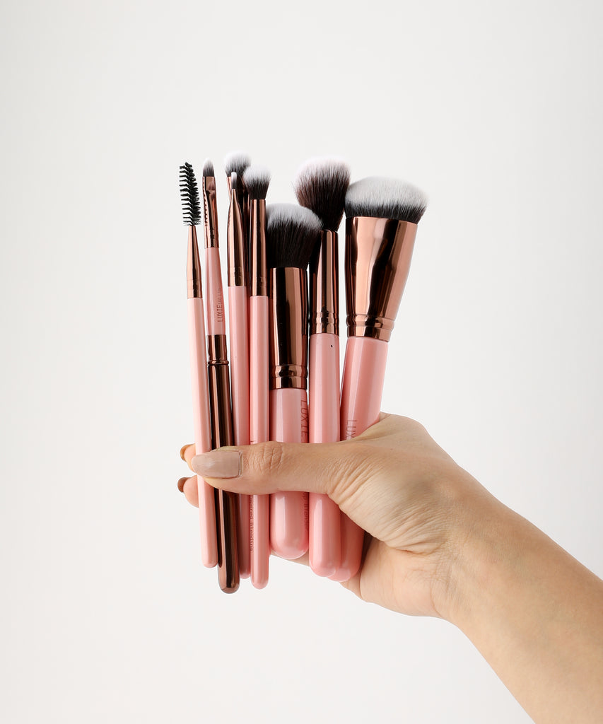 LUXIE Complete Face Brush Set-Rose Gold - luxiebeauty
