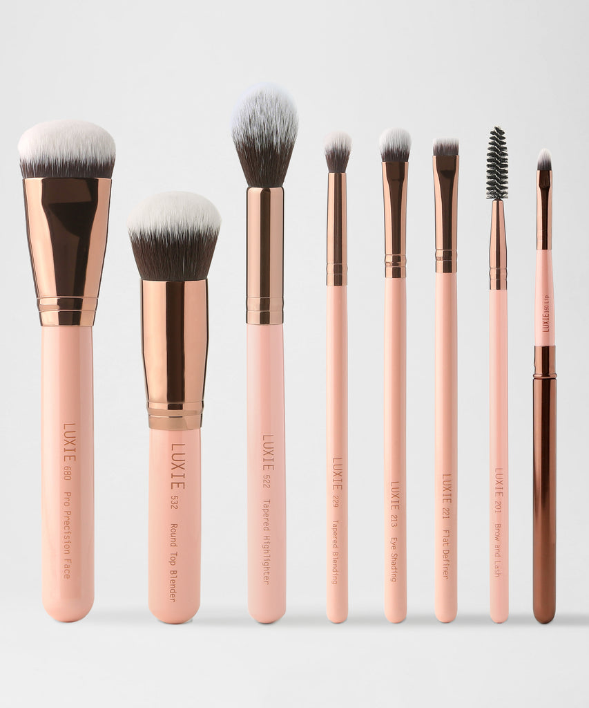 LUXIE Complete Face Makeup Brush Set - Rose Gold - luxiebeauty