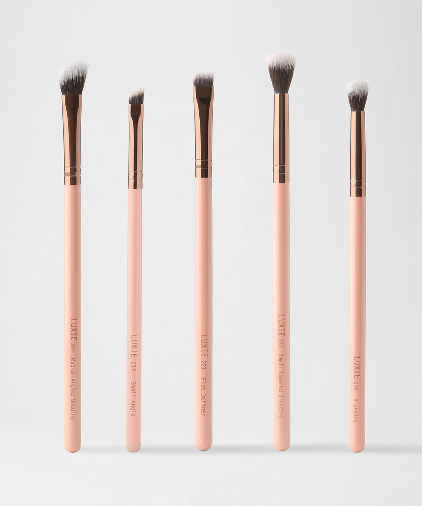 LUXIE Eye Essential Makeup Brush Set - Rose Gold - luxiebeauty
