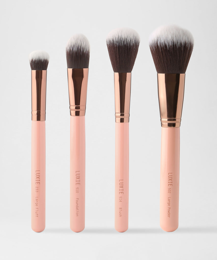LUXIE Face Complexion Makeup Brush Set - Rose Gold - luxiebeauty