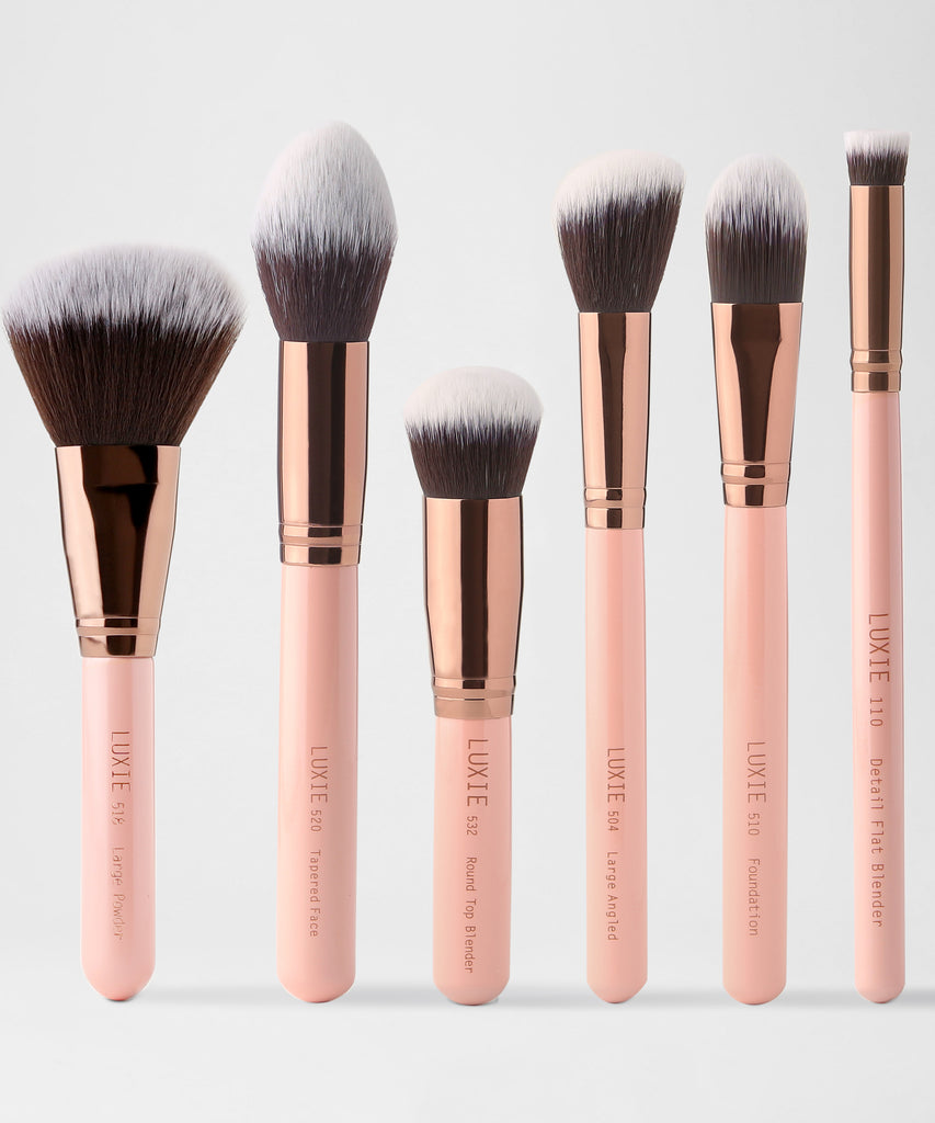LUXIE Face Essential Makeup Brush Set-Rose Gold - luxiebeauty