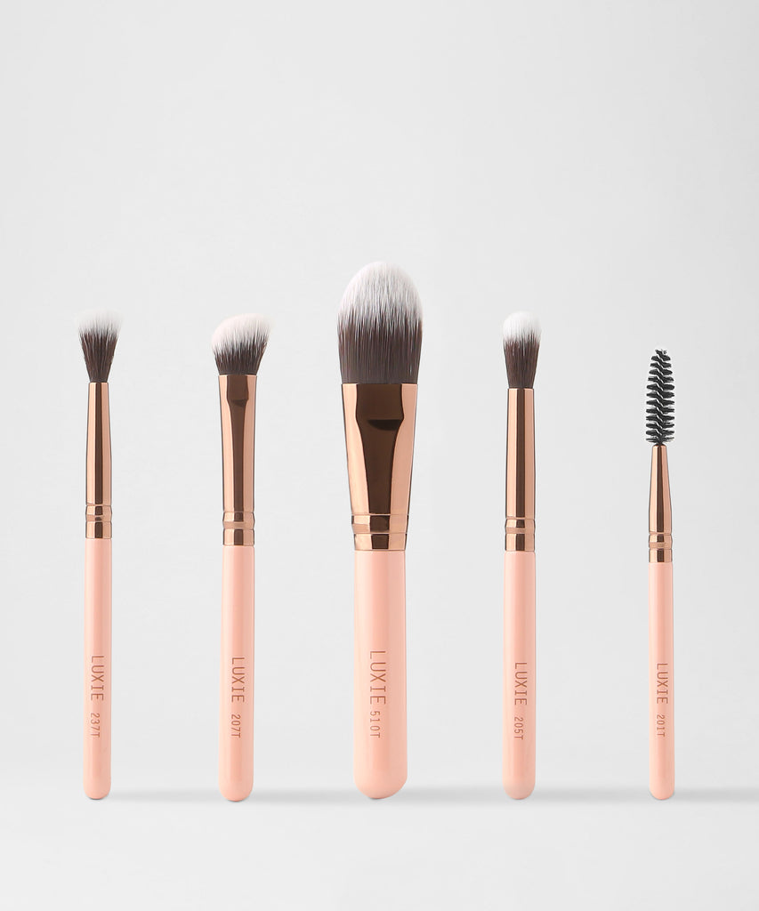 LUXIE Travel Essential Brush Set-Rose Gold - luxiebeauty