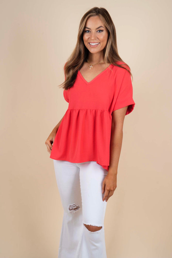 Chasing After You Blouse (Coral)