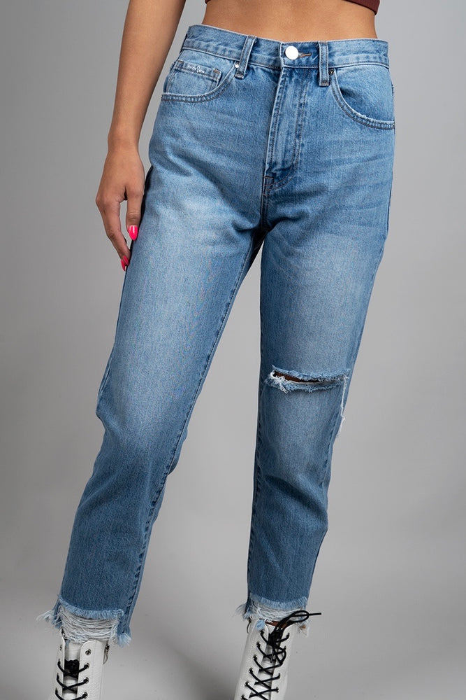 High Waisted Slim Tapered Jeans