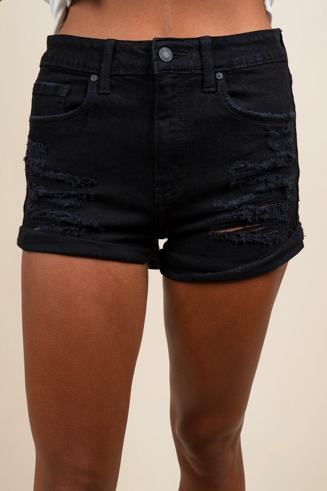 Kara High Rise Rolled Shorts (Grim Black)