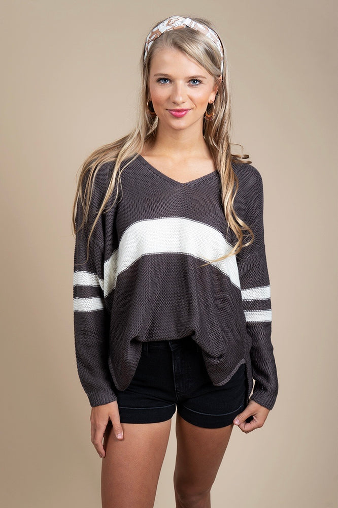Fall In Love Sweater (Charcoal/Cream)
