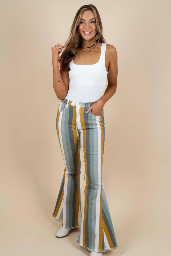 Maddy Striped Flares (Iceberg Multi)