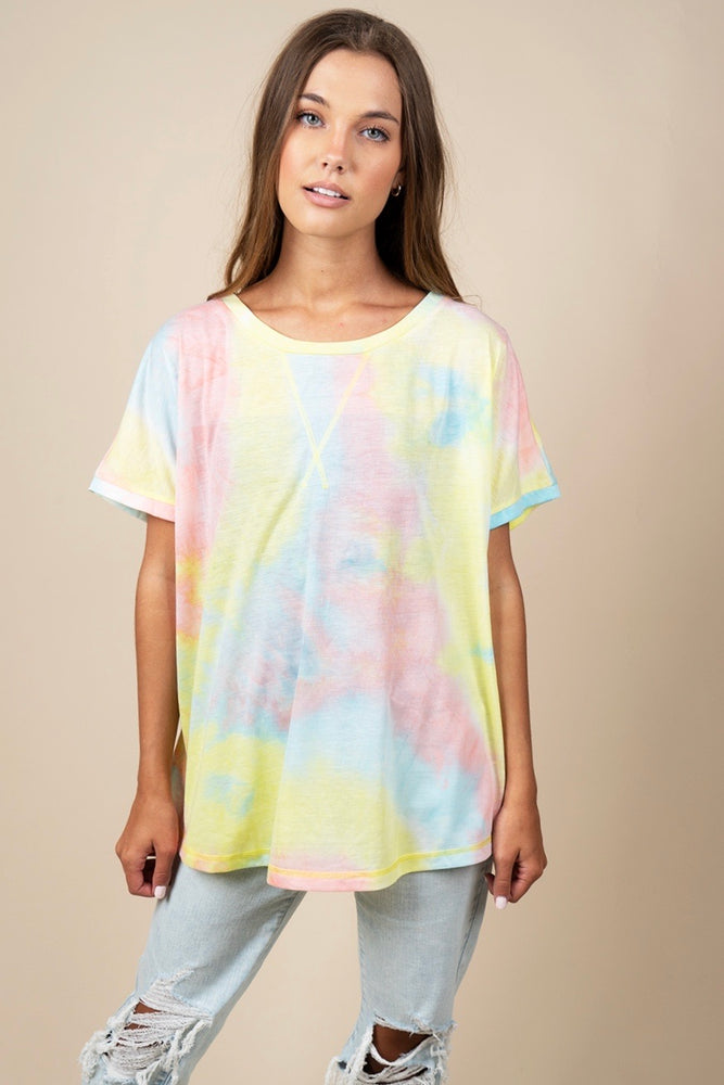 That's A Vibe Tie Dye Top (Peach Mix)
