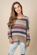 Gracie Sweater (Burgundy Stripe)