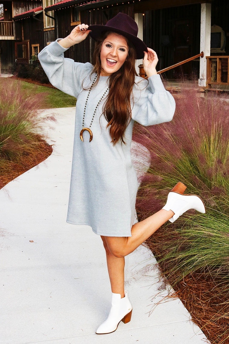 Find Your Own Way Sweater Dress (Heather Gray)