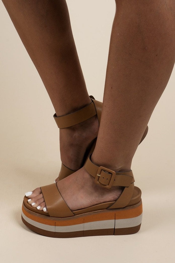 NAKED FEET - ALTEZZA in BOXWOOD Wedge Sandals