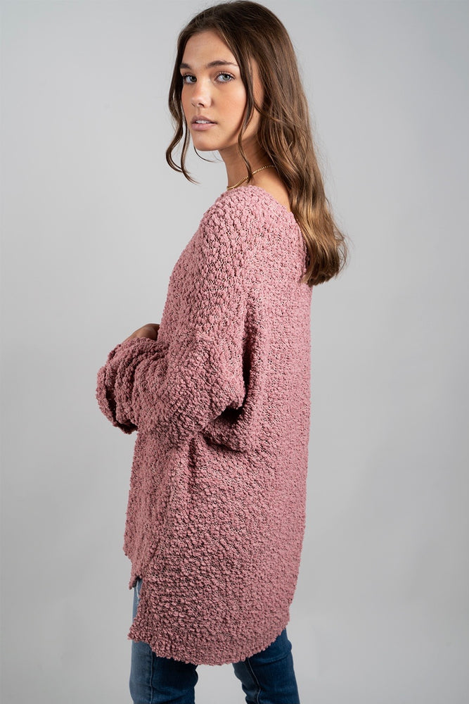 On My Mind Popcorn Pullover (Mauve)