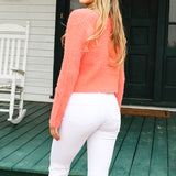 Feeling Free Cardigan Sweater (Tangerine)