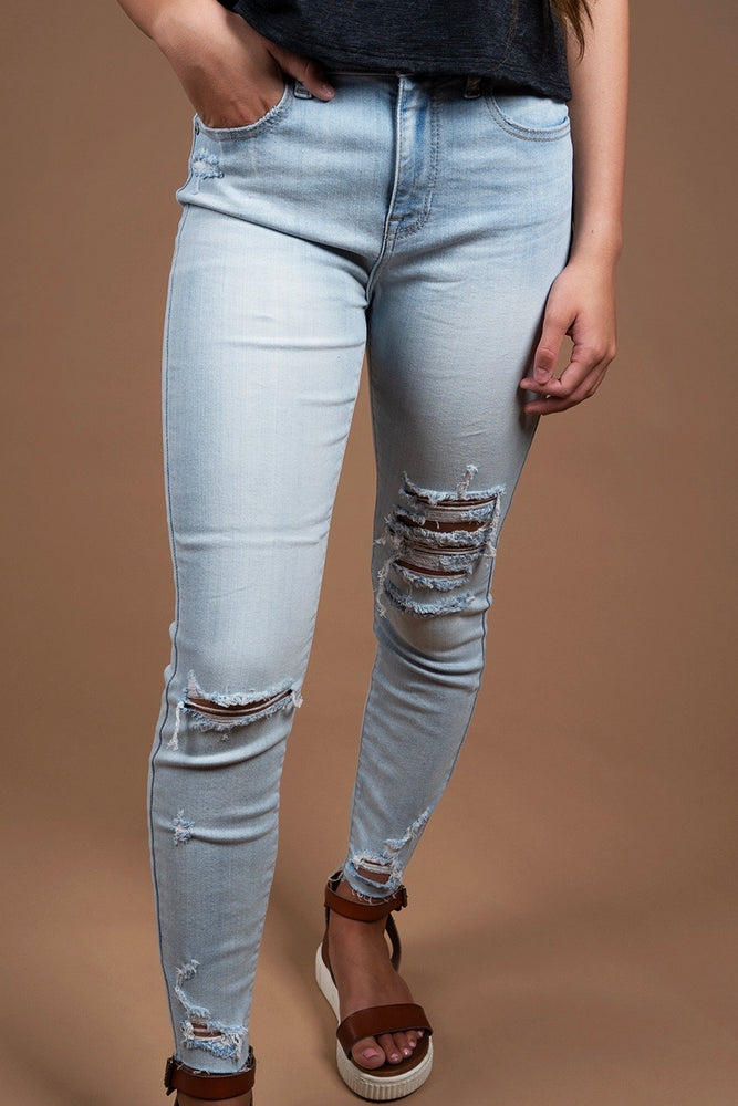 Clara High Rise Skinny Jeans (Iced Out)
