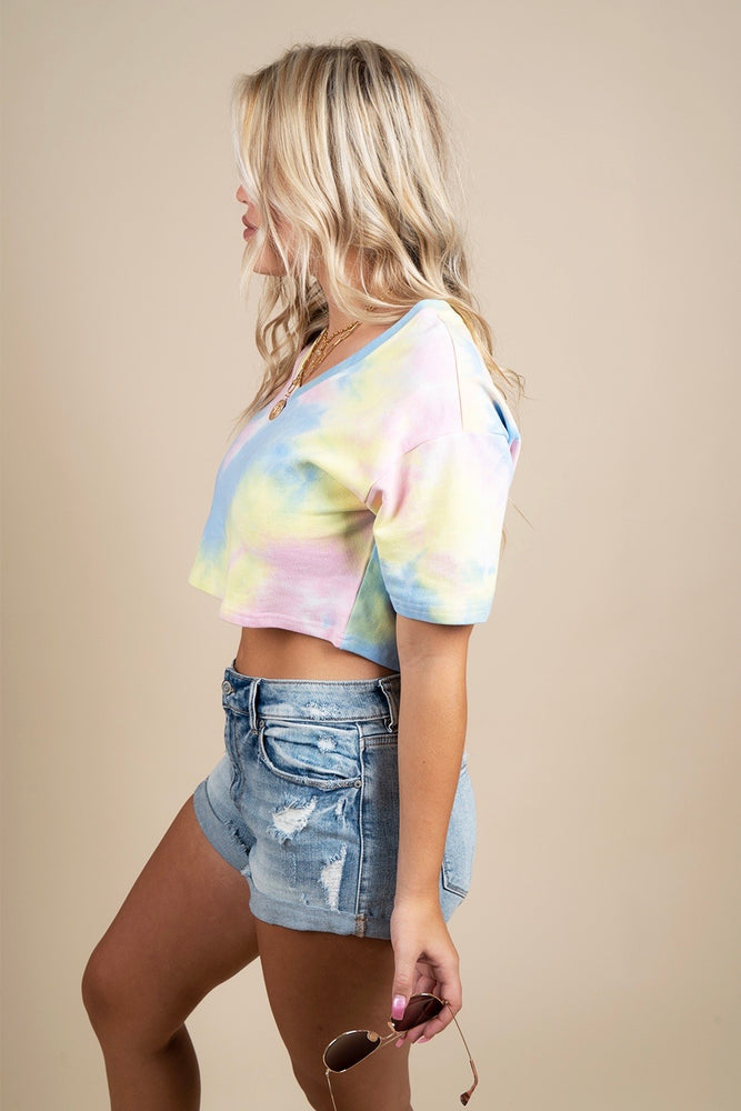 Rather Be In Tie Dye Crop (Yellow)