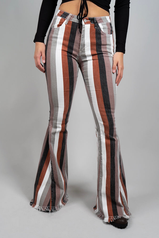 Maddy Striped Flares (Brown Multi)