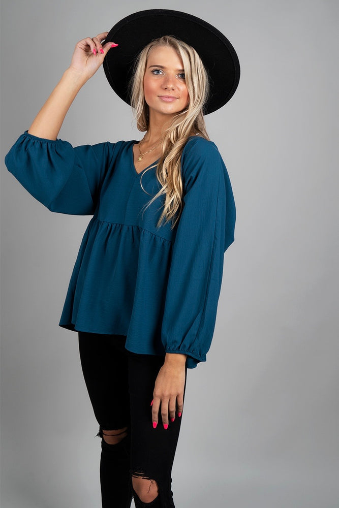 No Complaints Blouse (Teal)