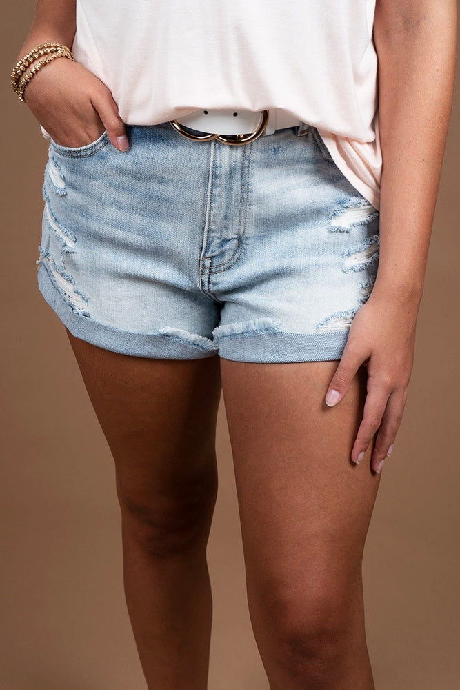 Kara High Rise Rolled Shorts (Lit LT)