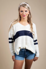 Fall In Love Sweater (White/Navy)