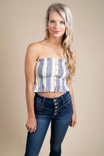 Right On Track Crop (Denim/Yellow)