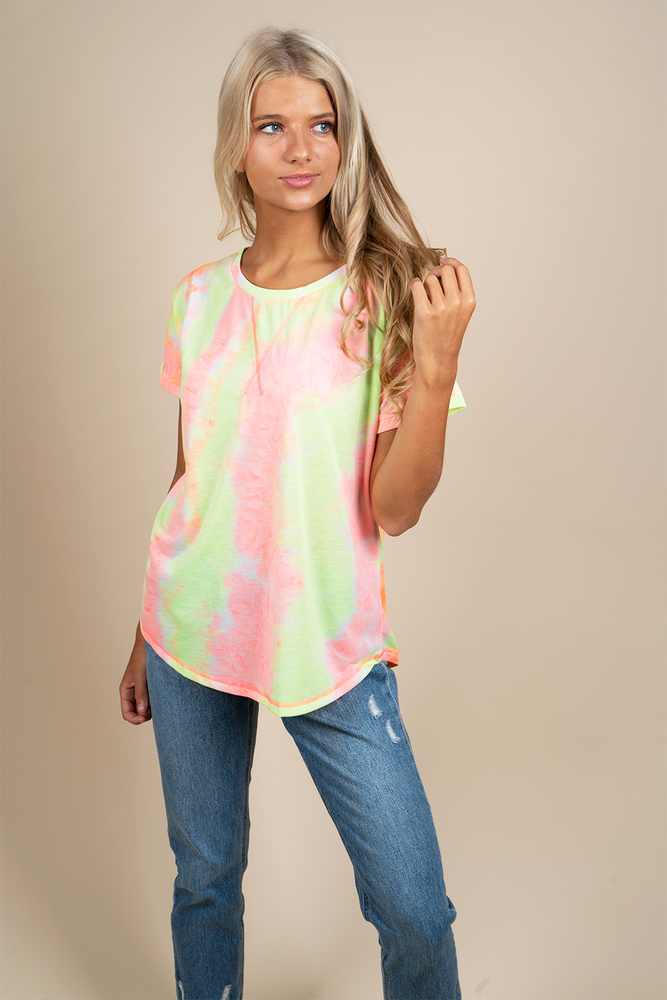 That's A Vibe Tie Dye Top (Neon Pink)