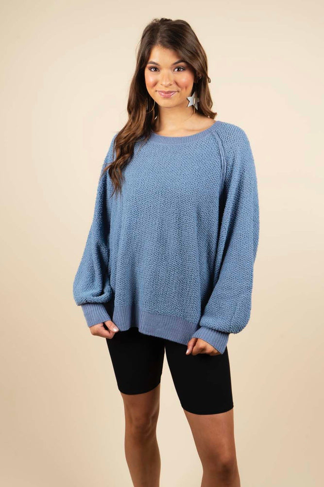 Gracious Smile Pullover (Steel Blue)