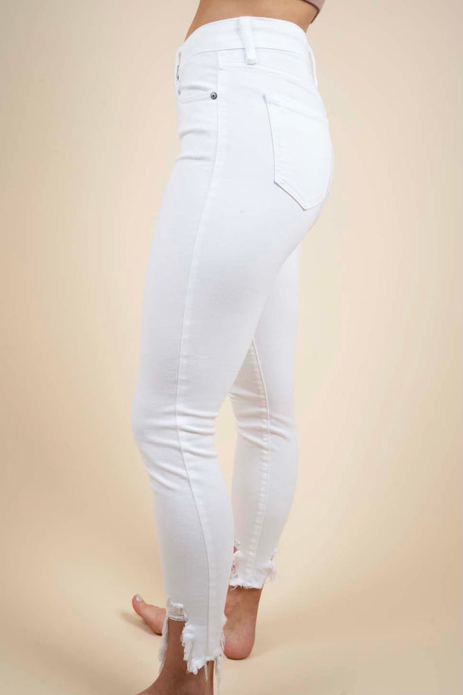 Clara High Rise Skinny Crop (White)