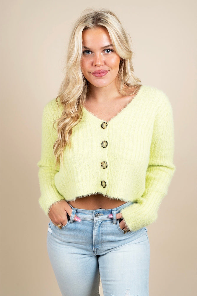 Feeling Free Cardigan (Neon Lime)