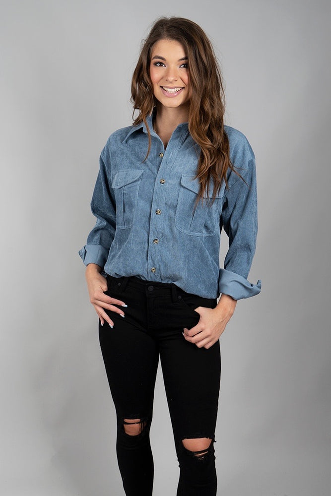 Switch It Up Button Down (Dusty Blue)