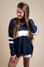 Fall In Love Sweater (Navy/White)