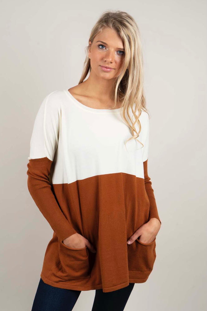 Totally Smitten Sweater (Ivory/Caramel)