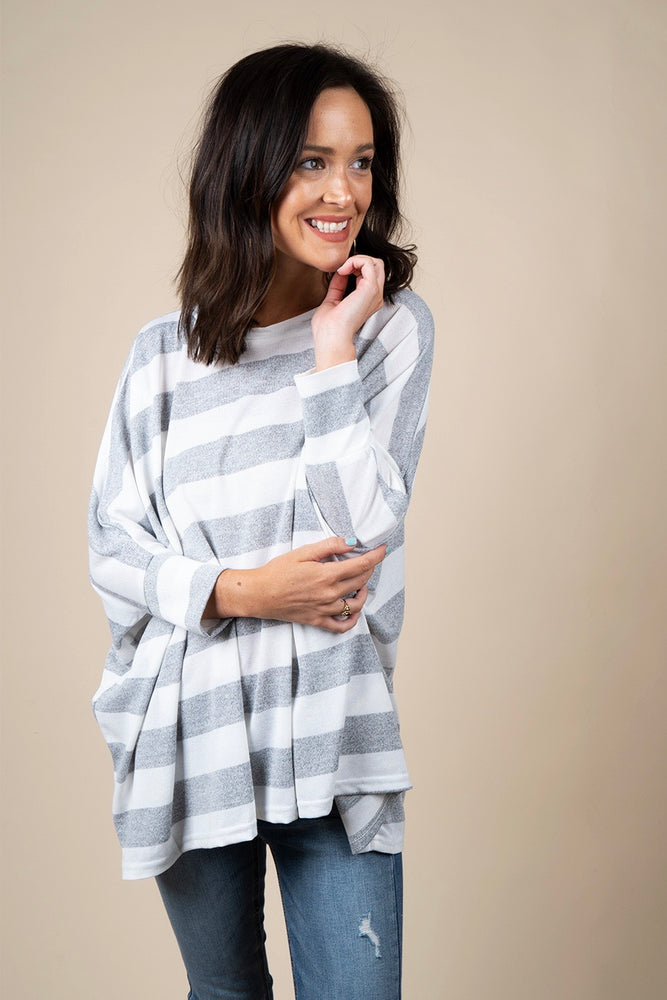 Wasting Time Striped Top (Grey)