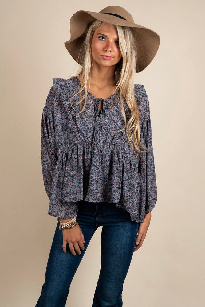 Along You Came Blouse (Dusty Blue)