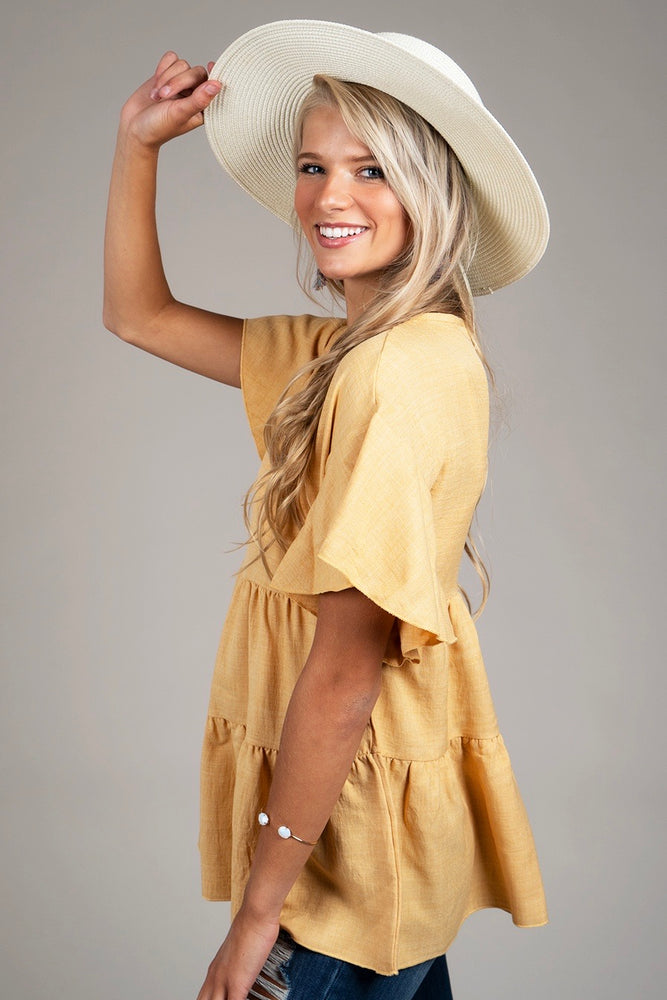 Sweet And Charming Top (Mustard)