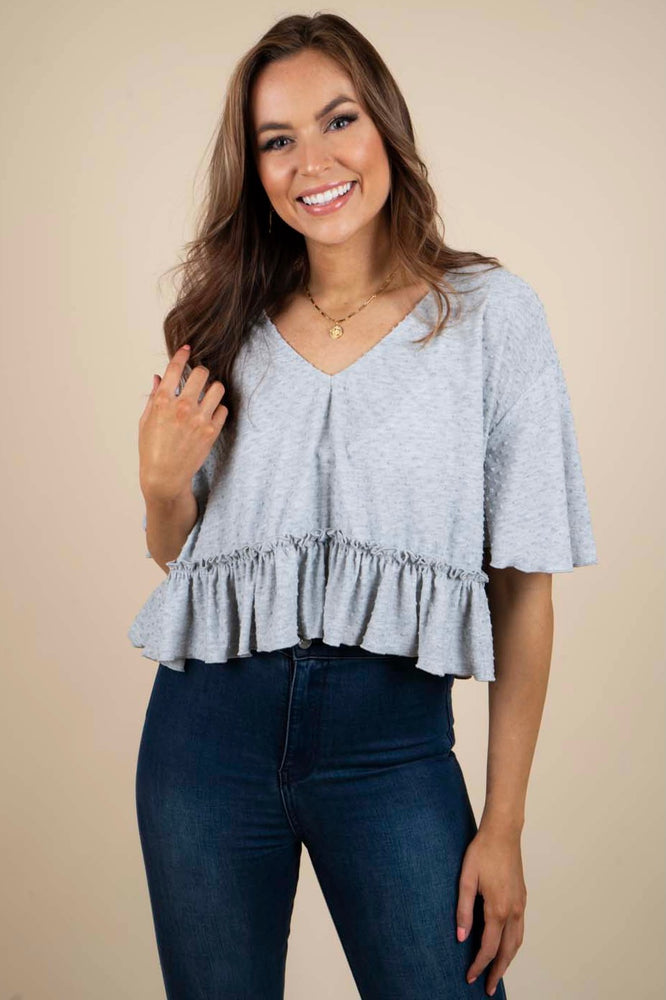 Don't Worry Cropped Top (Heather Grey)