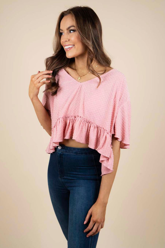 Don't Worry Cropped Top (Dusty Pink)