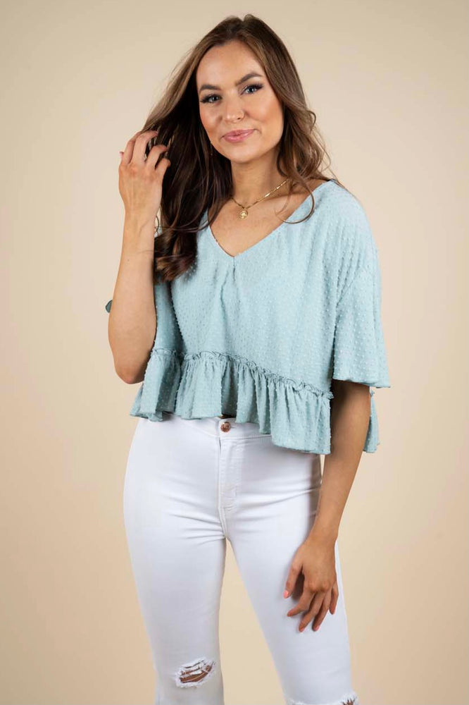 Don't Worry Cropped Top (Mint)