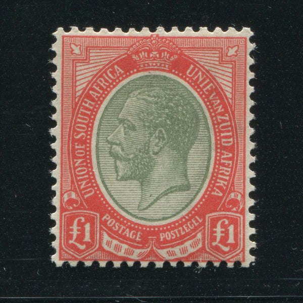 SA 1913 KGV KINGSHEAD £1 PALE OLIVE GREEN & RED SACC 16a - MNH