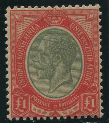 SA 1913 KGV KINGSHEAD £1 PALE OLIVE GREEN & RED SACC 16a -MNH