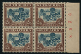 1945 ROTO 2/6  BROWN &  BLUE SHEET NUMBER BLOCK- MINT - SACC 50a