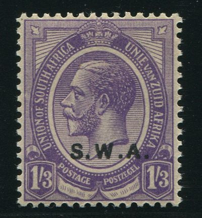 "SWA 1927 KGV 1/3 ""OVERPRINT ABOVE VALUE TABLET"" MNH - SACC 91a"