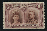 RHODESIA 1910 6d DOUBLE HEAD FINE MINT - SG 144