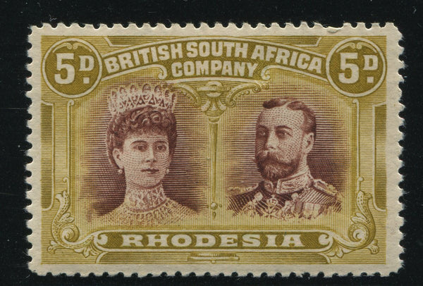 RHODESIA 1910 5d DOUBLE HEAD FINE MINT - SG 141