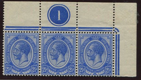 SA 1913 KGV 2 1/2d KINGSHEAD CONTROL STRIP OF 3 - SACC 6