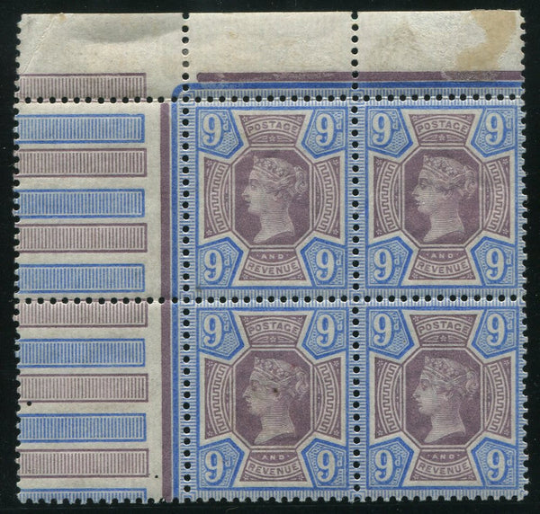 GREAT BRITAIN 1887 9d BLOCK OF 4  SUPERB MINT/MNH SG 209