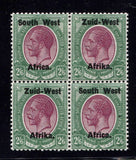 SWA 1923 TYPE 1 2/6 BLOCK OF 4  M/MNH - SACC 9