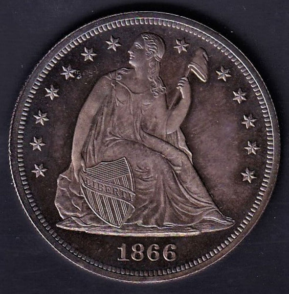USA 1866 LIBERTY SEATED DOLLAR- GEM PROOF