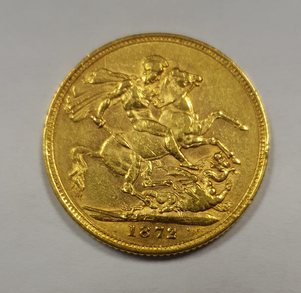 GREAT BRITAIN 1872 QUEEN VICTORIA GOLD SOVEREIGN